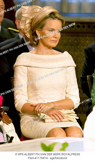 Princess Mathilde attends the abdication ceremony of King Albert II of Belgium at the Royal Palace in Brussels(Belgium). Prince Philippe will succeed his father