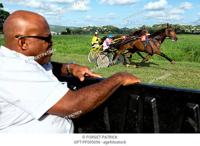 RACE OFFICIAL IN THE CAR, MONITORING THE HORSES' GAITS AND THE REGULARITY OF THE COMPETITORS, HIPPODROME DE CARRERE RACE TRACK, LE LAMENTIN, MARTINIQUE