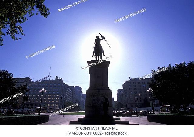 Avenida Libertador Bernardo O'Higgins, equestrian statue  Santiago, Chile, South America