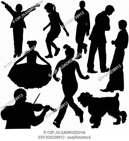 Silhouettes of people in different situations (vector)
