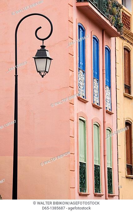 France, Languedoc-Roussillon, Pyrennes-Orientales Department, Vermillion Coast Area, Collioure, building detail