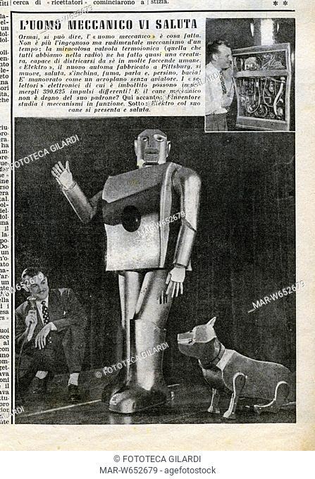 ROBOT -L'Uomo meccanico vi saluta- Elektro e il suo cane meccanico automa fabbricato a Pittsburg. Notizia con foto pubblicata dalla Domenica del Corriere