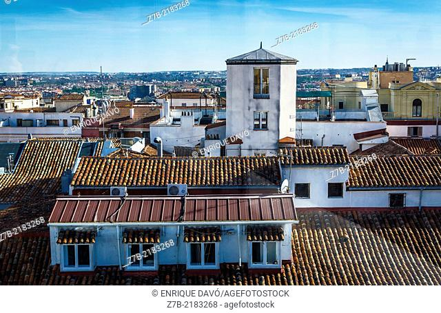 View of an attic from a building roof in the center of Madrid city, Spain