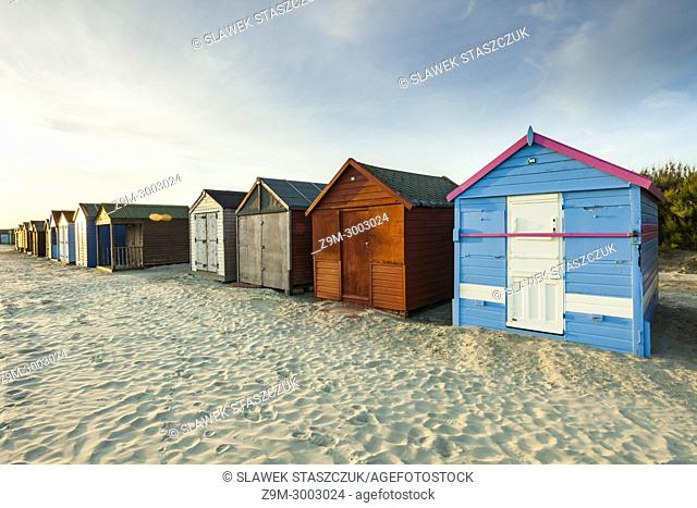 Beach huts at East Head beach, West Wittering near Chichester, West Sussex, England