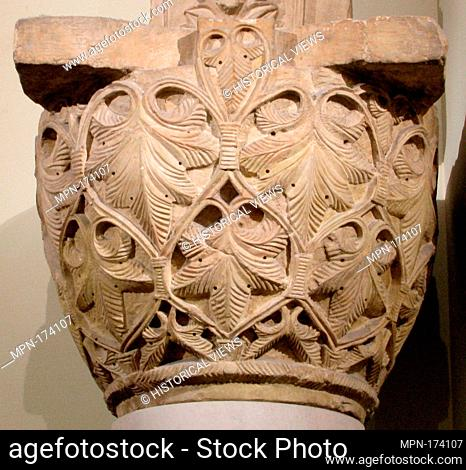 Capital with a Pattern of Leaves and Vines. Object Name: Capital; Date: 6th-7th century; Geography: Found Egypt, Saqqara; Medium: Limestone; Dimensions: H