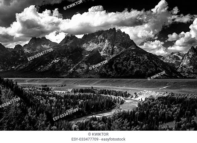 Grand Teton National Park Snake River Overlook Black and White Famous USA Landmarks
