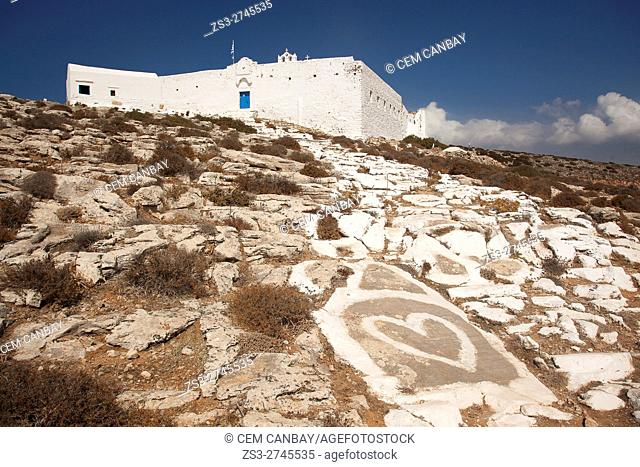 Zoodohos Pigi monastery situated on the top of the hill at the upper side of the Kastro or Castle village, Sikinos, Cyclades Islands, Greek Islands, Greece
