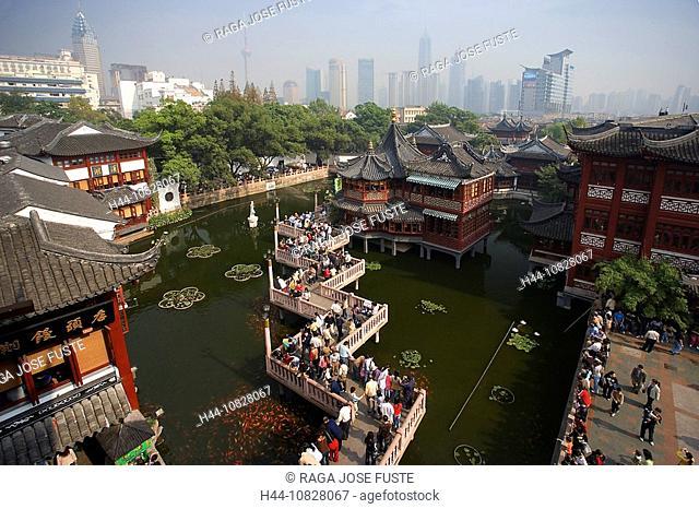 China, Asia, Shanghai, town, city, Yu yuan garden, Yuyuan, bazaar, overview, horticulture, horticulture, historical, t