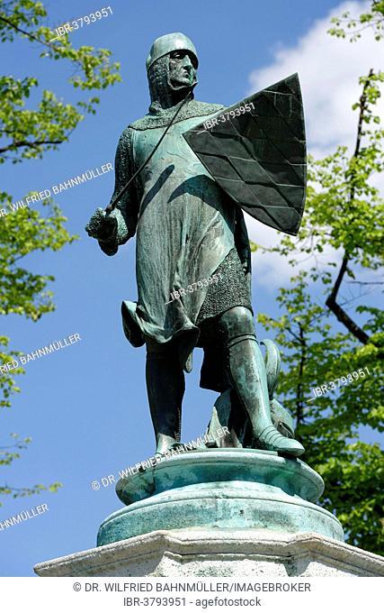 Monument of Emperor Louis IV, the Bavarian, Ingolstadt, Upper Bavaria, Bavaria, Germany