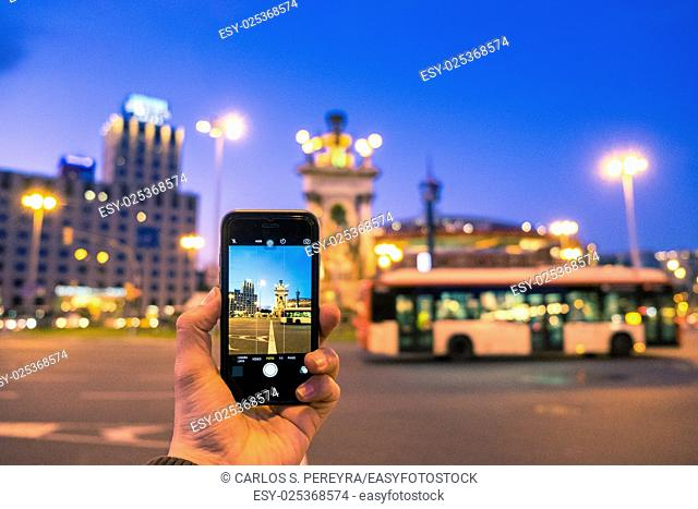 Mobile photography on Plaza Espana square in Barcelona