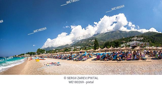 Dhermi, Albania - 07. 08. 2018. Panoramic view of the coast and beautiful beach in the resort of Dhermi in Albania on a sunny summer day