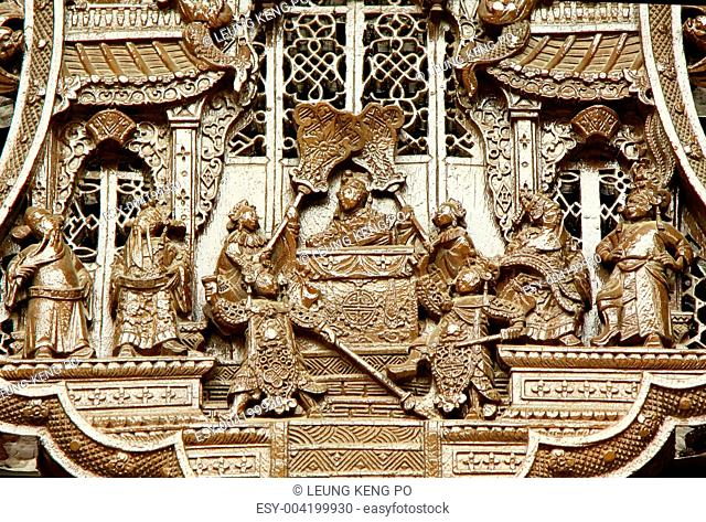 Chinese old story stone carving with group people