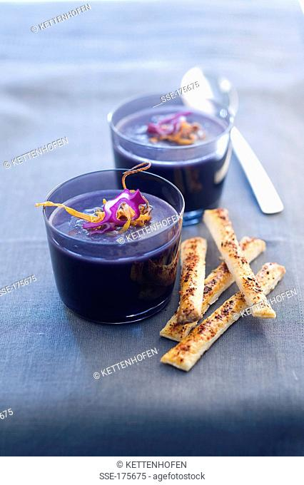 Cream of red cabbage soup with smoked streaky bacon