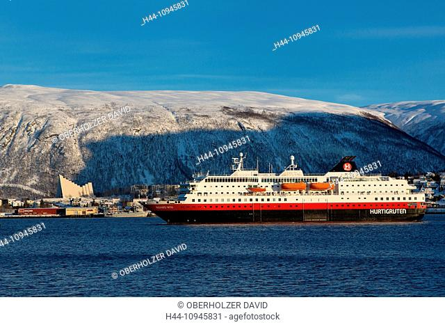 Arctic cathedral, church, Europe, swift rods, church, Norway, postal ship, ships, Scandinavia, town, city, transport, Tromsö, transport, winter