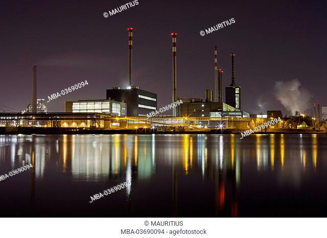 Voest Linz, steelworks, the Danube, Upper Austria, Austria