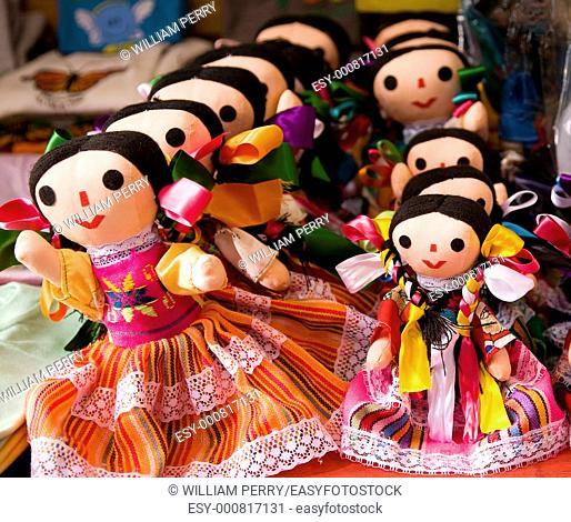 Colorful Lupita Dolls named after Guadalupe Janitzio Island Patzcuaro Lake Mexico Souvenirs