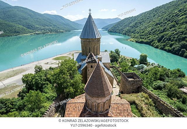 Medieval Ananuri Castle with Church of the Assumption over Aragvi River in Georgia