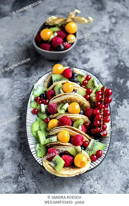 Taco Pancakes with fruits