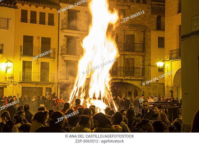 Bonfire of Saint Miguel by night in Mora de Rubielos. Teruel, Aragon, Spain