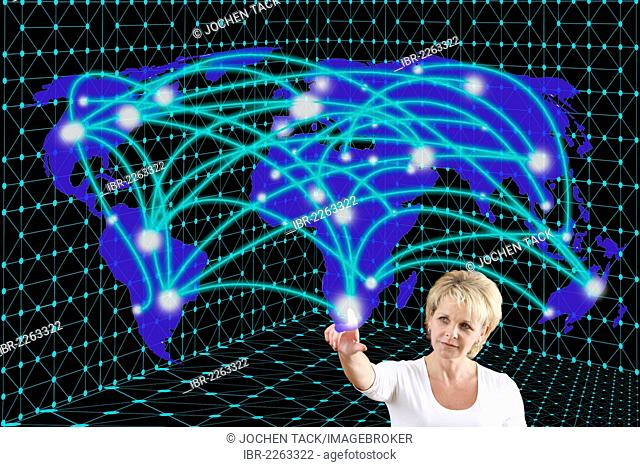 Woman with a virtual model, symbolic image for networks, networking