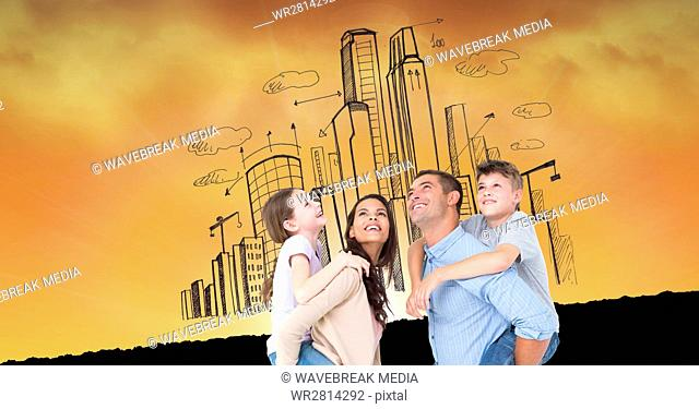 Digital composite image of happy family against buildings