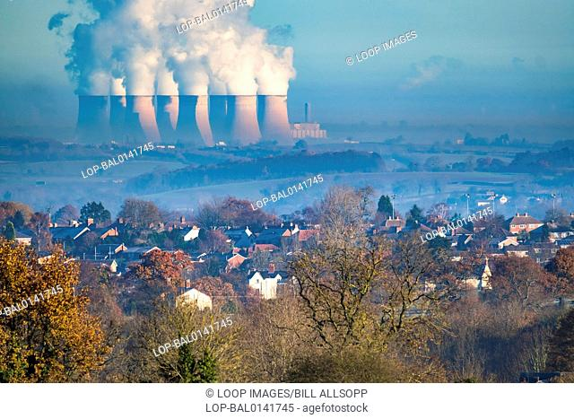 Ratcliffe power station appears to dwarf Swannington from over ten miles away
