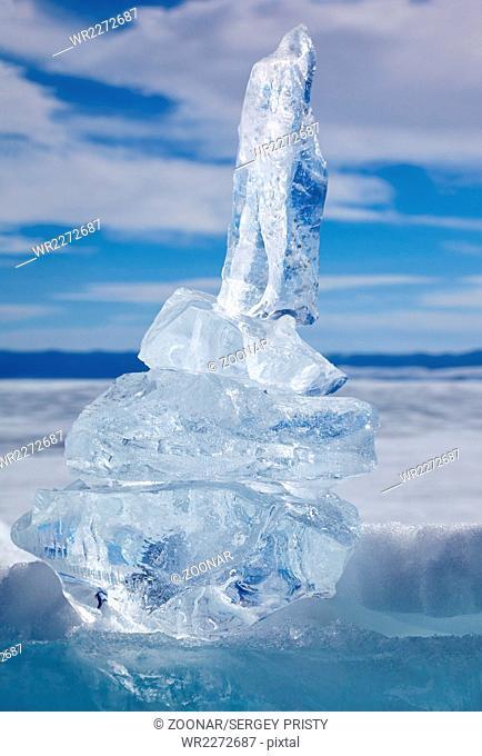 Ice floe crystal over winter Baikal lake