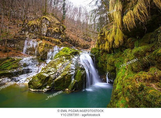 Small waterfall on Zeleni vir in Croatia long exposure