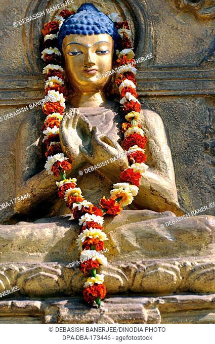 Buddha idol at bodhgaya temple , Bihar , India