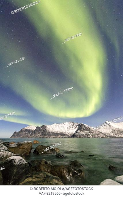 Northern lights on snowy peaks and icy sea along Mefjorden seen from the village of Mefjordvaer Senja Tromsø Norway Europe