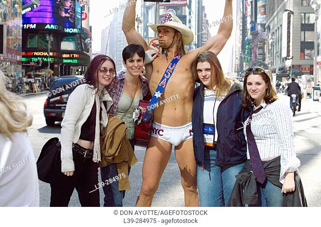 Naked cowboy in Times Square. New York City. USA