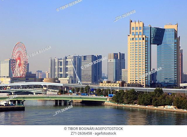 Japan, Tokyo, Odaiba, skyline, panorama,