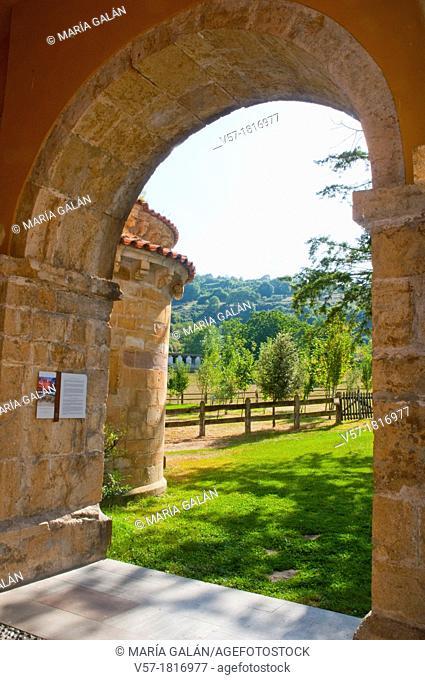 View from the portico. San Pedro de Villanueva church, Villanueva de Cangas, Asturias province, Spain