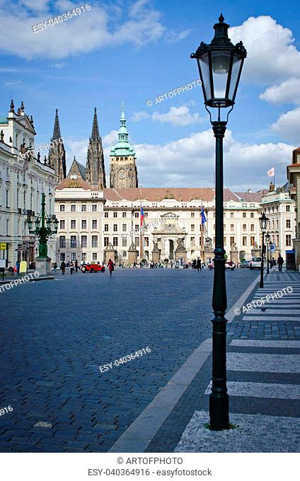 Square and front entrance of Royal Castle in Prague, Czech Republic