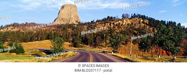 Road to Devils Tower Crossing Belle Fourche River