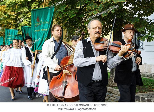 Folk musicians at the International Wine festival parade at Castle Hill, Budapest, Hungary