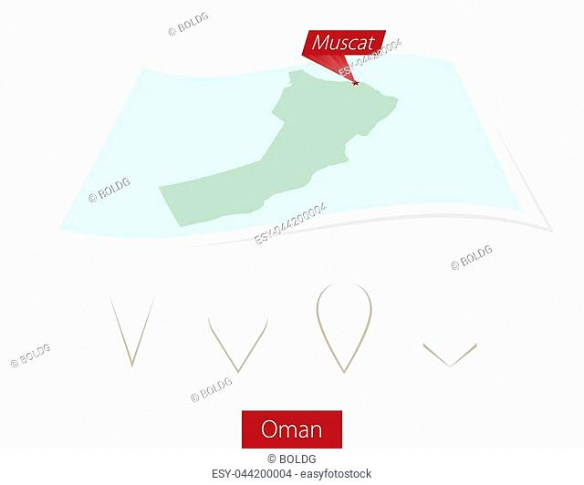 Curved paper map of Oman with capital Muscat on Gray Background. Four different Map pin set. Vector Illustration