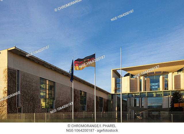 Federal Chancellery, morning, Chancellor, Government District