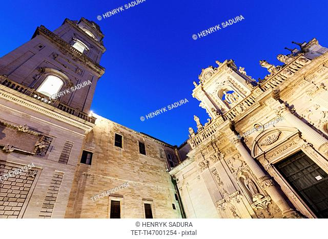 Low angle view of Lecce Cathedral in Duomo square