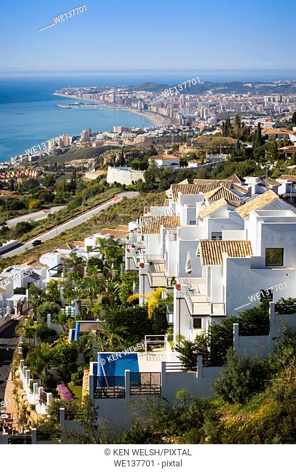 Fuengirola, Costa del Sol, Malaga Province, Andalusia, southern Spain. High view to the resort showing beaches and harbour