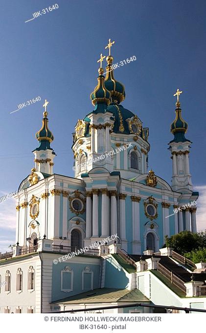 Ukraine Kiev church of holy St. Andreas built 1212 in wood 1744 with stones architect F. Rastrelli blue sky sunshine 2004