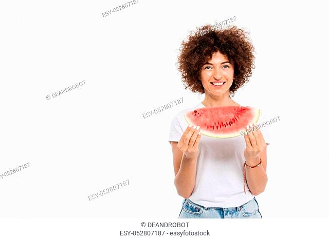 Happy smiling woman holding slice of a watermelon isolated over white background
