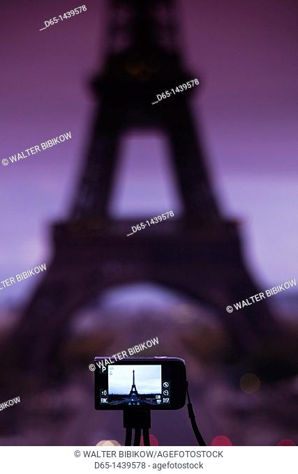 France, Paris, Eiffel Tower photographed with digital camera, dawn