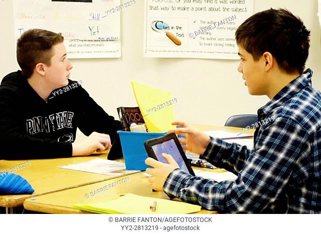 7th Grade Boys Using iPads for Lesson, Wellsville, New York, USA