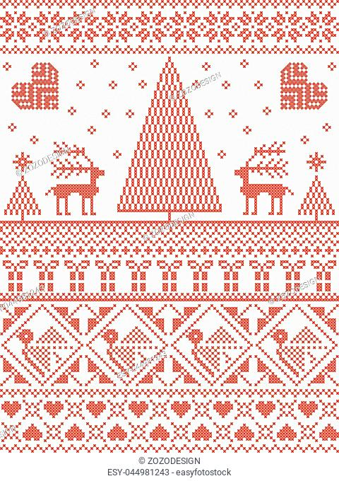 Scandinavian Printed Textile style and inspired by Norwegian Christmas and festive winter seamless pattern in cross stitch with Xmas trees, snowflakes, Reindeer
