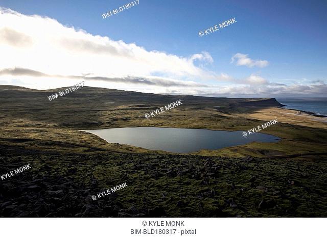 Lake in remote landscape