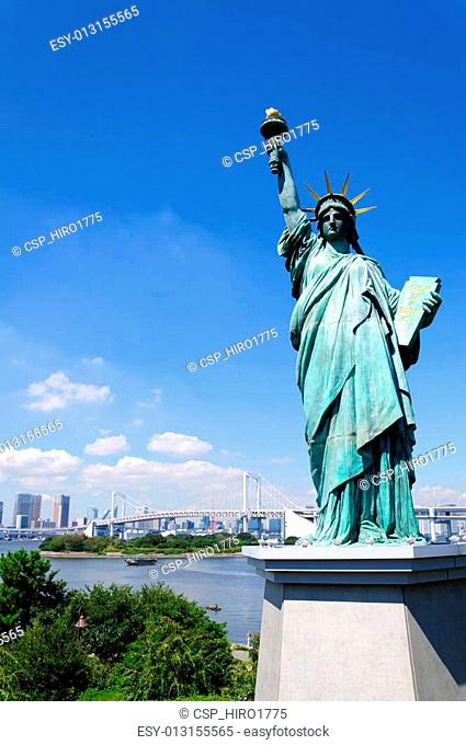 Statue of Liberty and Tokyo Skyscra