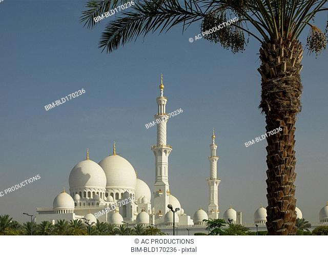 Ornate building domes and spires under blue sky, Abu Dhabi, Abu Dhabi Emirate, United Arab Emirates