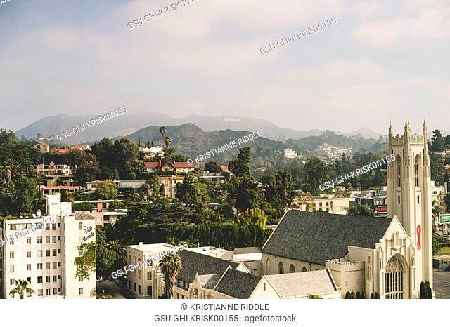 Hollywood with Hills and Sign in Background, Hollywood, California, USA