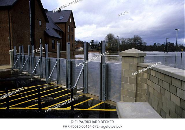 Flood - U K Shrewsbury flood barriers in position - first use of new flood defences by River Severn